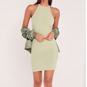 MISSGUIDED x Carli Bybel Green Ribbed Dress